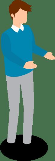 Illustration eines Mannes hält Bild-Platzhalter