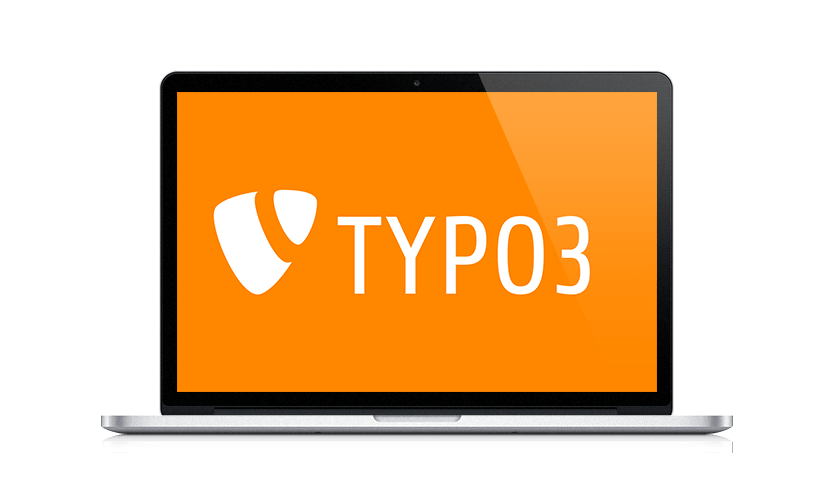 Ansicht eines Laptops mit TYPO3-Logo