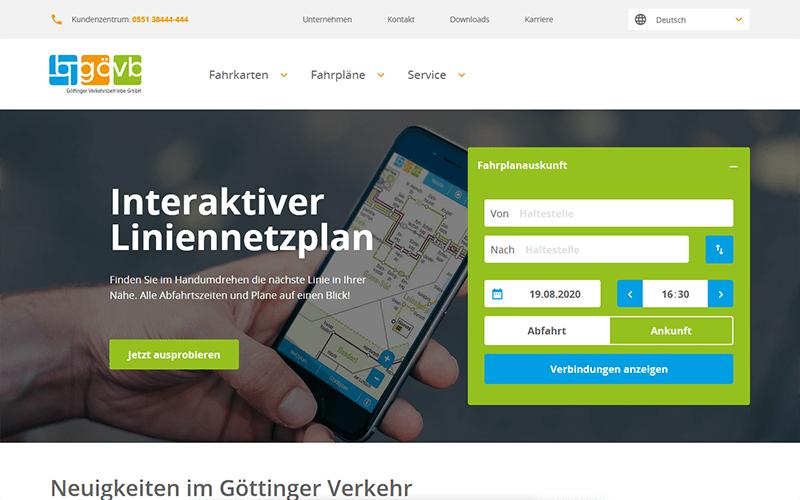 Ansicht der GöVB-Website auf einem Laptop